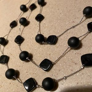 Black and silver toned Beaded Necklace